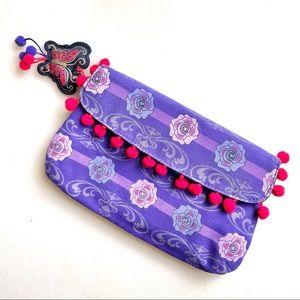 🍇 Anna Sui Purple/Red Small Clutch Bag w/ Pompoms